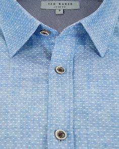 Linen dobby dot shirt - Blue | Shirts | Ted Baker