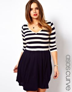 ASOS CURVE Exclusive Skater Dress in Stripe sizes 20-26