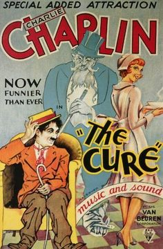 "Movie poster from ""The Cure"" starring Charlie Chaplin, Edna Purviance, and Eric Campbell  http://charlie-chaplin-reviews.info/biographies/biography-of-eric-campbell-charlie-chaplins-on-screen-nemesis/"