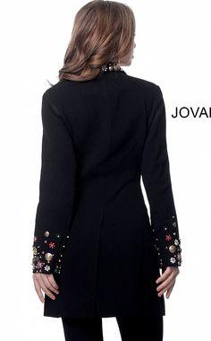 Jovani M62121 | Black multi three quarter length jacket Fabric Embellishment, Embellishments, Contemporary Dresses, Printed Blazer, Embroidery Fashion, Coat, Jackets, Clothes, Black