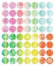 Súper colorida caprichosa florido Remolinos Círculos 1 Inch