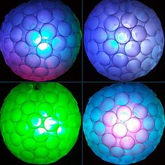 Make sparkle balls for any occaision out of plastic cups and Christmas Lights (led party lights plastic cups) Cup Crafts, New Year's Crafts, Diy And Crafts, Led Party Lights, Ball Lights, String Lights, Decorating With Christmas Lights, Christmas Decorations, Outdoor Christmas