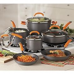 Rachael Ray cookware in orange