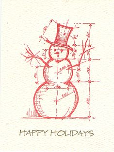 architectural snowman letterpress holiday cards — MUSEUM FACSIMILES