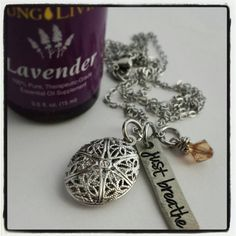 Essential Oil diffuser locket with personalized by jewelrybykaren2