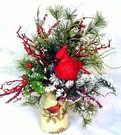 cardinal pitcher floral arrangement centerpiece christmas red bird holiday bling christmas floral designs christmas floral - Red Bird Christmas Tree Decorations