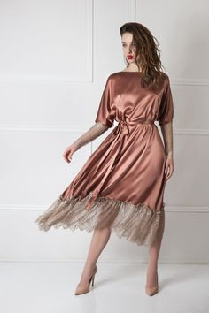 Maxi Dress With Sleeves, Lace Sleeves, Satin Dresses, Gowns, Bronze Dress, Batik Dress, Bridal Robes, African Print Fashion, Women's Fashion Dresses