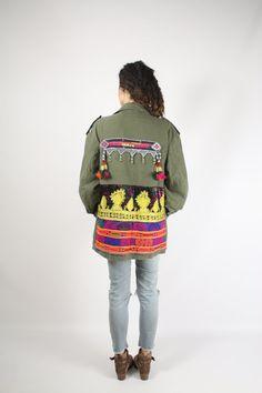 Embellished Vintage Army Coat Tribal nomad Boho jacket #renewvintage
