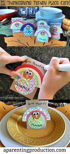 Cute Thanksgiving Craft For the Kids - make your own place cards for your Thanksgiving table. #thanksgiving #kids #crafts
