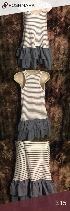 White and denim blue colored mini dress 👗 White & blue striped mini dress 👗. one clothing Dresses Mini