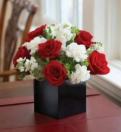 red roses and white matthiola -my dream bouquet!