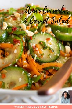 Carrot Salad Recipes, Best Salad Recipes, Cucumber Recipes, Juicer Recipes, Vegetable Side Dishes, Vegetable Recipes, Vegetarian Recipes, Cooking Recipes, Gastronomia