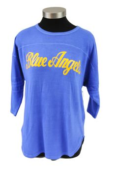 5.3 oz., 100% cotton jersey Oversized ladies fit tee 3/4-length sleeves Dyed to match sleeve stripes Front and back yoke seam Pigment dyed for vin Us Navy Blue Angels, Vintage Jerseys, Stripes, Clothes For Women, Sweatshirts, Lady, Tees, Fit, Sleeves