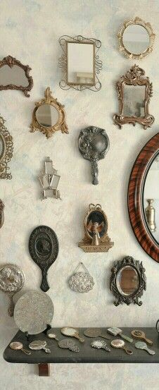 Vintage hand mirrors. Very ornate and beautifully-designed. Goes with old-fashioned idea.