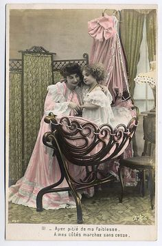 Victorian Boudoir Colour Tinted Postcard by