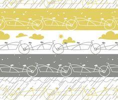 Bicycle print fabric via Spoonflower
