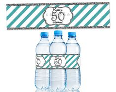 Items Similar To Silver Glitter Stripe Womens Birthday Party Favor Water Bottle Label
