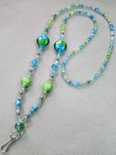 Crystal Blue & Green ID Badge Necklace ID Lanyard by TheBeadBeauty, $24.00
