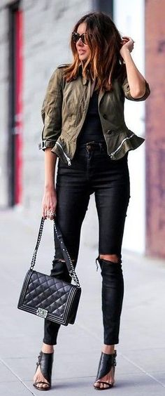 #Street #Fashion | Army Green Jacket, Black Top, Black Ripped Skinny Jeans, Black Chanel Bag, Black Designer Heels | Fashioned CHIC