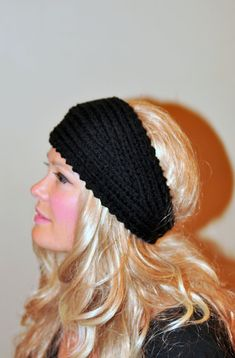 HEADBAND Crochet Earwarmer Black Headwrap  Black Friday by lucymir, $29.99