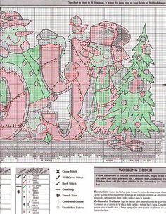 Snowmen JOY cross stitch pattern #2