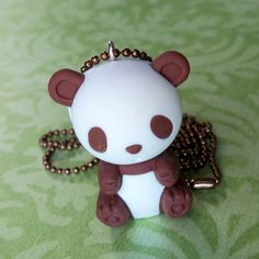 Panda necklace made from ball chain, Iwako eraser and eyering screw