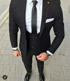 S suits, suits for men 3 piece suits, formal suits, mens fashio Best Suits For Men, Cool Suits, Suit Styles For Men, Stylish Men, Men Casual, Casual Outfits, Black Suit Men, Black Three Piece Suit, Black And White Suit