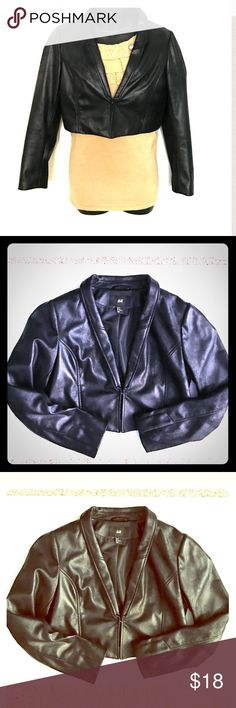 """Faux leather H&M cropped black jacket M/L Soft faux black leather cropped short jacket. Fits like a Medium/Large to me. Tag reads size 12. H&M brand. Measures approximately 36"""" from under the armpit seam and around where bust area is. Measures about 15.5"""" in length. Hook clasp in front. In really good condition. Looks great paired with some black boots or pumps. This blazer jacket is lined. Bundle with other items in my closet to save even more. H&M Jackets & Coats"""