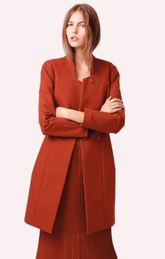 Pleated polyester georgette long dress Water-repellent structured cotton waisted coat See By Chloé