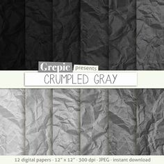 "Wrinkled paper: digital pack ""CRUMPLED GRAY"" old paper  folded paper  shabby paper  crumpled textures  color paper  blue paper #patterns #grepic"
