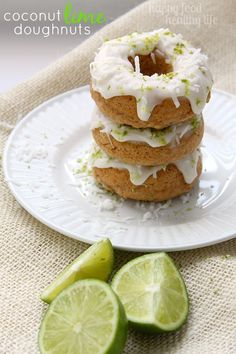 Coconut Lime Doughnuts - perfect way to start your day and to remind yourself that warm weather is on the way!! www.happyfoodhealthylife.com