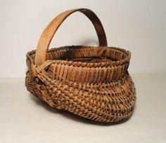 Antique Old Vintage Primitive Folk Art Splint Oak Buttocks Country Basket