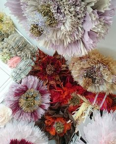 Giant tissue paper flowers by Marianne Eriksen Scott-Hansen Paper Flower Wall, Tissue Paper Flowers, Paper Flower Backdrop, Giant Paper Flowers, Big Flowers, Faux Flowers, Fabric Flowers, Scott Hansen, Flower Window