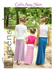 Greenstyle Girl's Amy Maxi Skirt with Chevron Option Easy PDF Sewing Pattern sizes 2 years - 16 years Girls Skirt Patterns, Skirt Patterns Sewing, Sewing Patterns For Kids, Sewing For Kids, Sewing Ideas, Sewing Projects, Skirt Sewing, Sewing Crafts, Coat Patterns