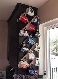 Wallmount expanding coffee mug rack 13 hook glass hanging storage hat home decor - apartment. Coffee Mug Wall Rack, Coffee Mug Storage, Mug Rack, Coffee Cup Holder, Coffee Mugs, Coffee Mug Display, Coffee Time, Coffee Cabinet, Home Decor Ideas