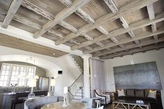 Pecky Cypress coffered ceiling in a Rosemary Beach Home designed by Bobby McAlpine. Pecky Cypress, Cypress Wood, Wood Ceilings, Ceiling Beams, Coffered Ceilings, House Ceiling, Ceiling Tiles, Ceiling Decor, Architecture Details