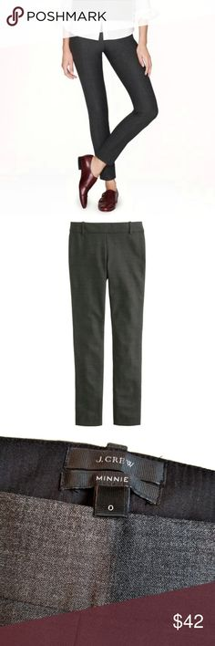"J. Crew Minnie Pant in Wool Blend Size 0 Great pants for the office! Worn a few times, back pockets are still sewn shut. From the website: Sits just above hip. Fitted through hip and thigh, with a slim, ankle-length leg. 28"" inseam.  Our Minnie pant (aka the magic pant, because it looks that good on everyone) in sleek bi-stretch wool. (Bi-stretch means the fabric stretches in both length and width.) It's praised for its super-slimming, body-vacuuming fit and rubber band-like stretch…"