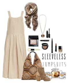 """""""2016 desert sand sleeveless jumpsuit"""" by vaughnroyal ❤ liked on Polyvore featuring Rachel Comey, MANGO, Bobbi Brown Cosmetics and Ash"""