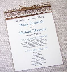 Rustic Country Shabby Chic Burlap and Lace Wedding Program. $200.00, via Etsy.