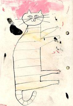 記憶のモンプチ Japanese Illustration, Illustration Art, Cat Drawing, Painting & Drawing, Magic Carpet, Illustrations And Posters, Cat Design, Love Is Sweet, Cat Art