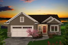 Ranch Style House Plan - 2 Beds 2 Baths 1680 Sq/Ft Plan #70-1111 Exterior - Front Elevation - Houseplans.com