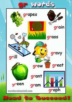 Words starting with gr - A FREE PRINTABLE phonics poster for your Word Wall, the fridge or the back of the bathroom door.