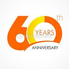 Logotipo del aniversario de 60 años — Ilustración de stock #75128573