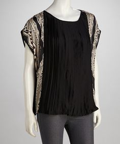 Take a look at this Black Pleated Dolman Top by Orange Zone Inc. on #zulily today!