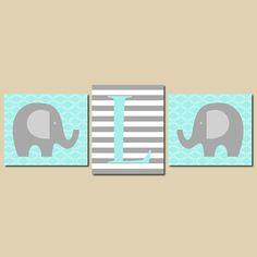 Elephant Nursery Kids Wall Art Aqua Gray Grey by LovelyFaceDesigns,
