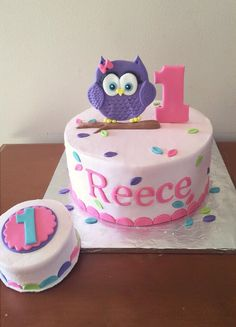 Trendy cake for kids birthday girls 40 ideas Birthday Cakes Girls Kids, Girls First Birthday Cake, Owl Cake Birthday, Owl Birthday Parties, Birthday Cupcakes, Birthday Ideas, 5th Birthday, Owl Smash Cakes, Owl Cakes