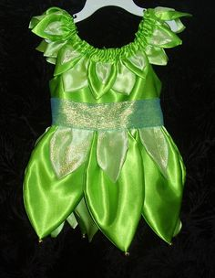 Green Fairy Dress with tinkerbells Toddler Sizes by Ladymantis