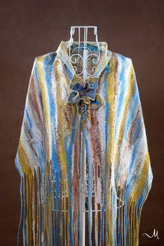 Scarves Multicolor Felted Fashion Clothing Accessories Large Scarf  Wool Felted Scarf Silk Shawl Nuno Felt Scarf Felted scarf by GardenFeltbyMarina on Etsy
