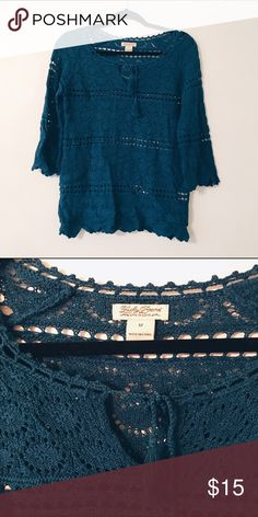 Blue Crochet Top Bohemian style and cute color! MAKE AN OFFER Lucky Brand Tops