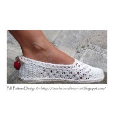INSTANT DOWNLOAD PDF  WHITE LACE SLIPPERS Crochet Pattern.  This listing is a crochet pattern for the basic slippers; no in- or out-soles. One-piece, toe-up!  *NOTE*: This pattern is almost similar to the Coral Lace slippers; PURCHASE ONLY ONE OF THEM! *Difference*: Crochet-Soles attached to the white slippers, Cord-Soles to the new Coral slippers, plus different lace- and embellishing balls on the heels.  See listing and pics for the Coral Lace Slippers HERE…